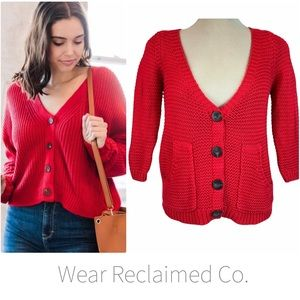 Buttoned Red Open Knit Cardigan with Pockets
